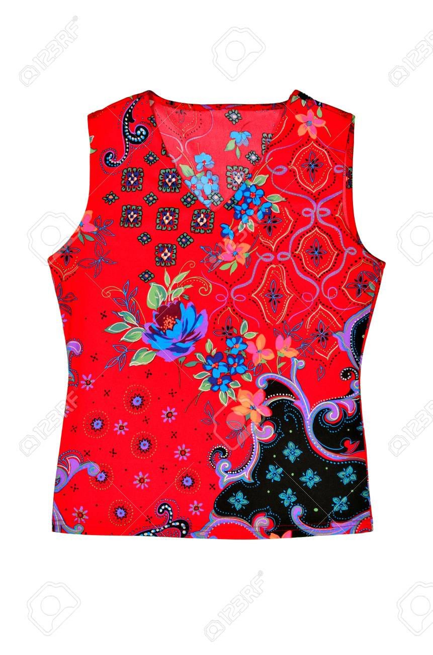 Floral Blouse Isolated On White Backgroundd Sleeveless Summer