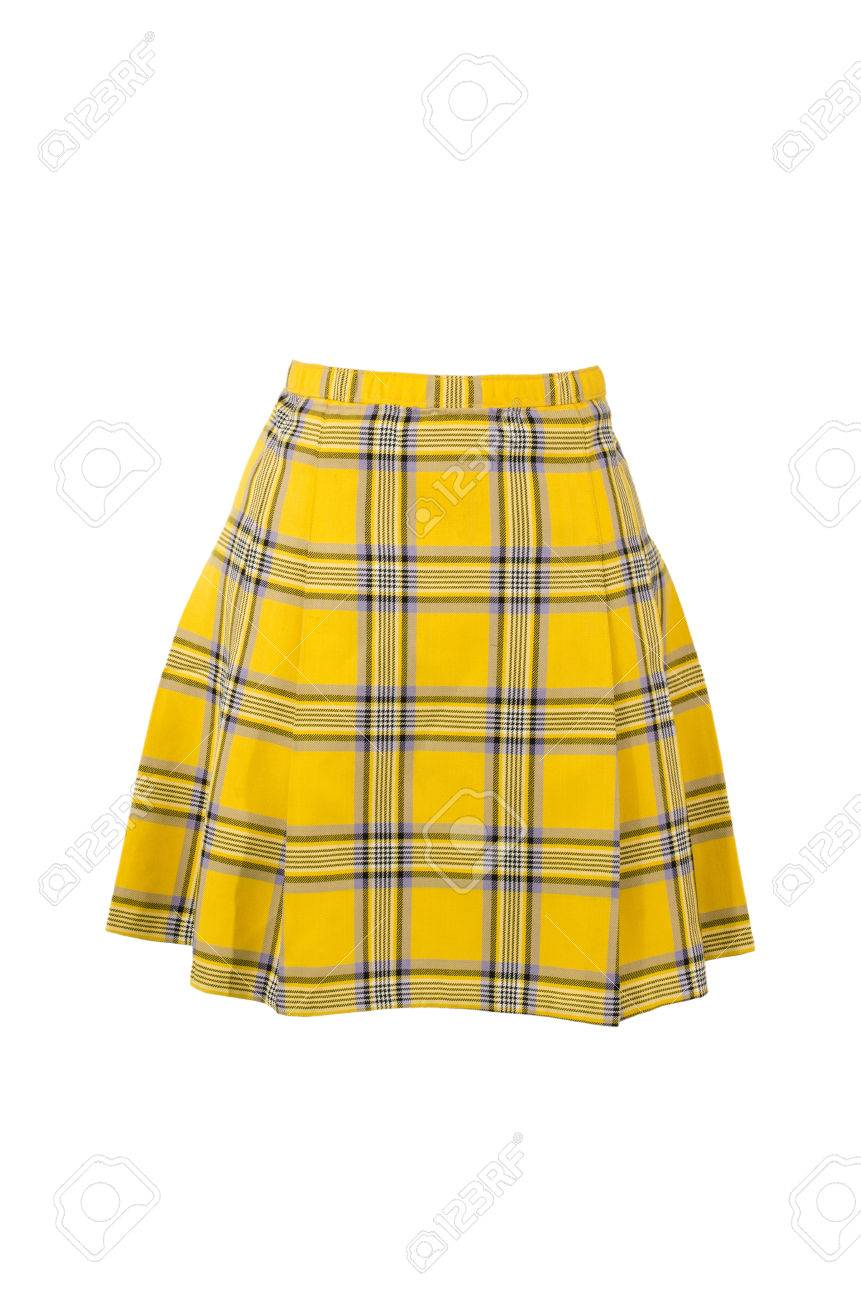 1ec3a13b0 Plaid skirt isolated on white background. Yellow tartan wool short skirt  cut out on white