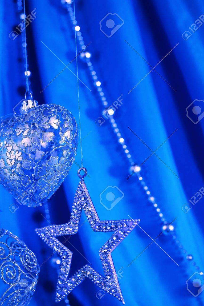 Blue christmas decoration on fabric background Stock Photo - 16505695