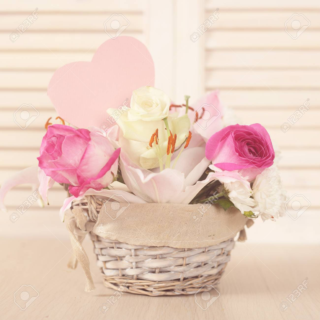 Beautiful flower composition in basket valentines day gift stock beautiful flower composition in basket valentines day gift stock photo 52393533 izmirmasajfo