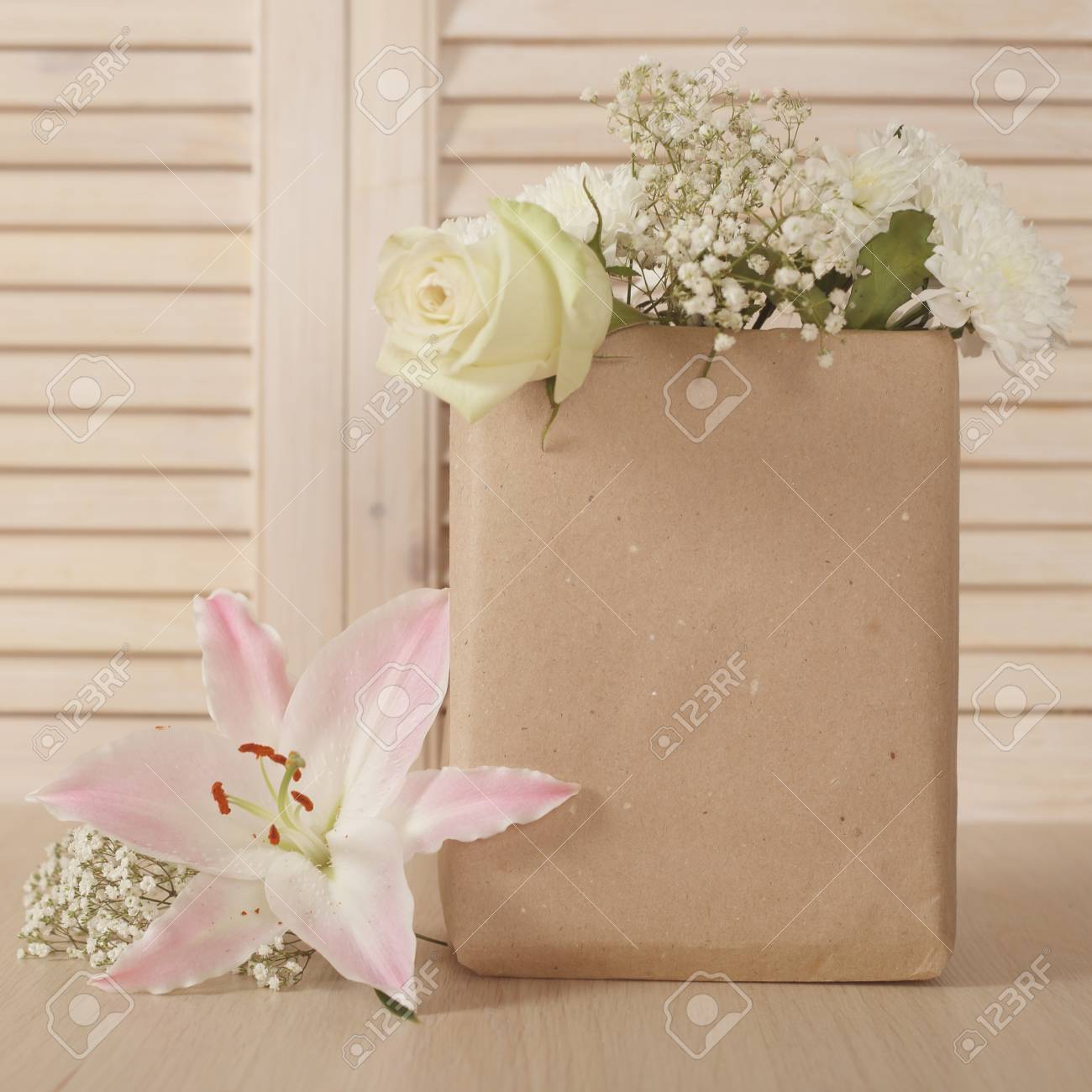 Valentine Day Bouquet Of Flowers In Paper Bag Stock Photo, Picture ...