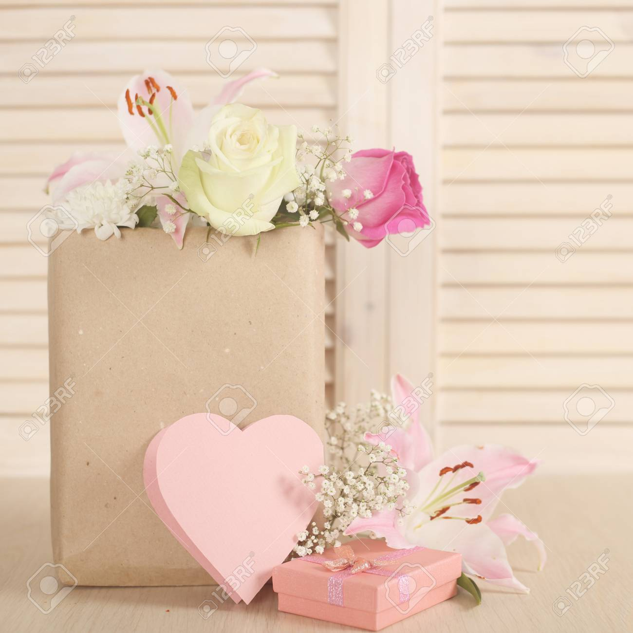 Valentine Day Heart Shapes Paper Card And Bouquet Of Flowers Stock
