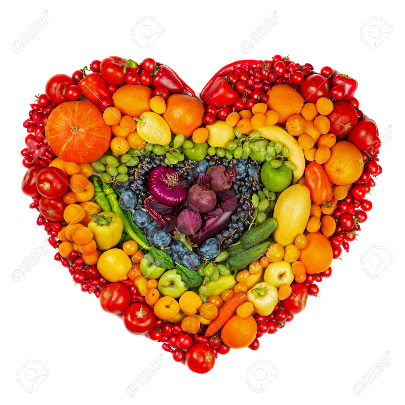 Rainbow heart of fruits and vegetables studio isolated on white background go vegetarian love healthy eating concept - 153584014