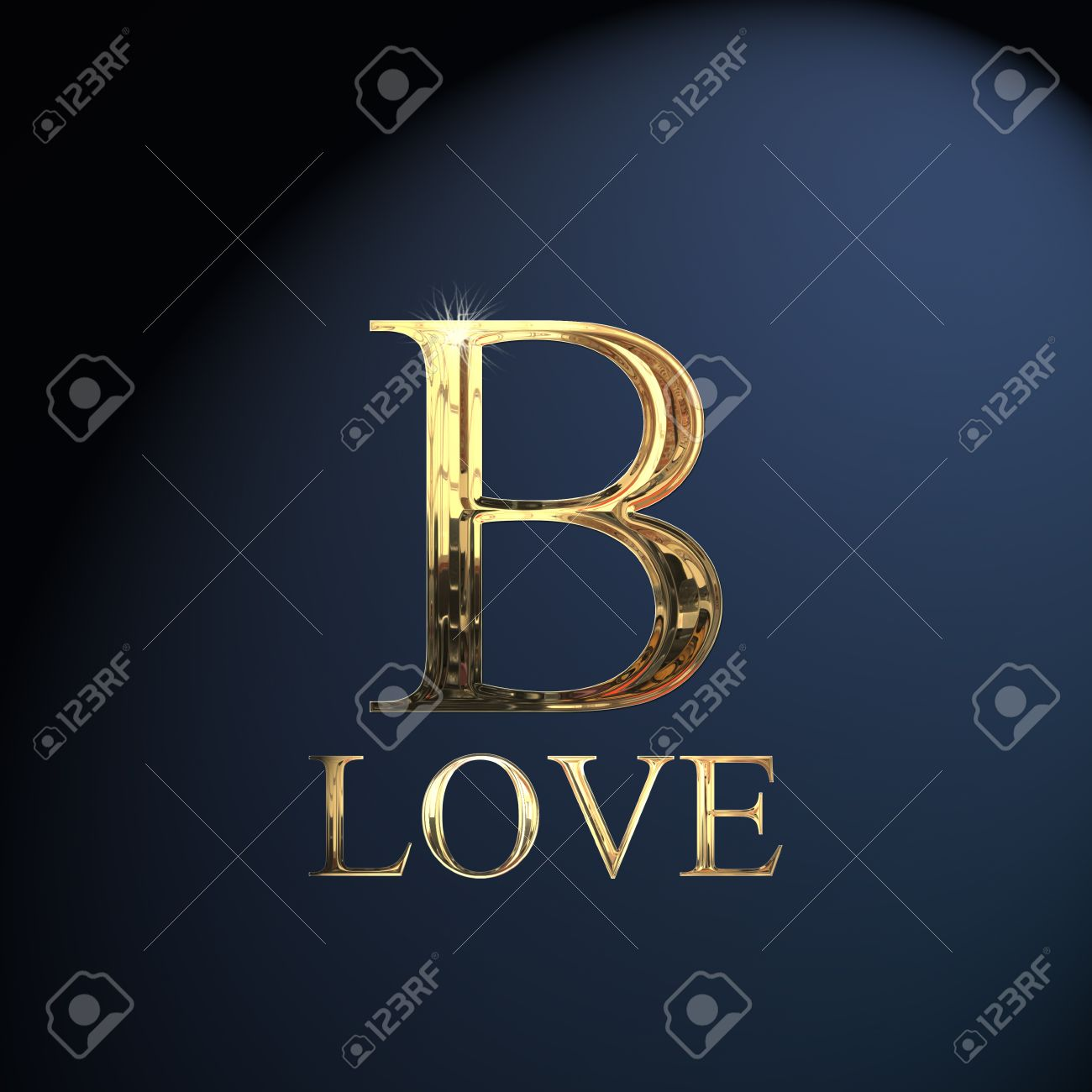 Gold Alphabet Letter B Word Love On A Blue Background Stock Photo