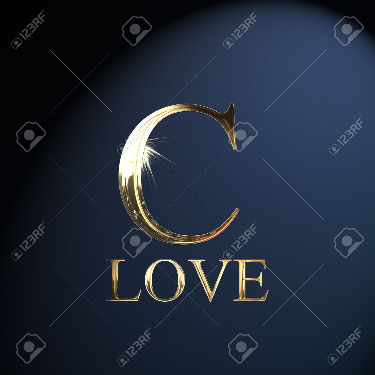 Gold Alphabet Letter C Word Love On A Blue Background Stock Photo