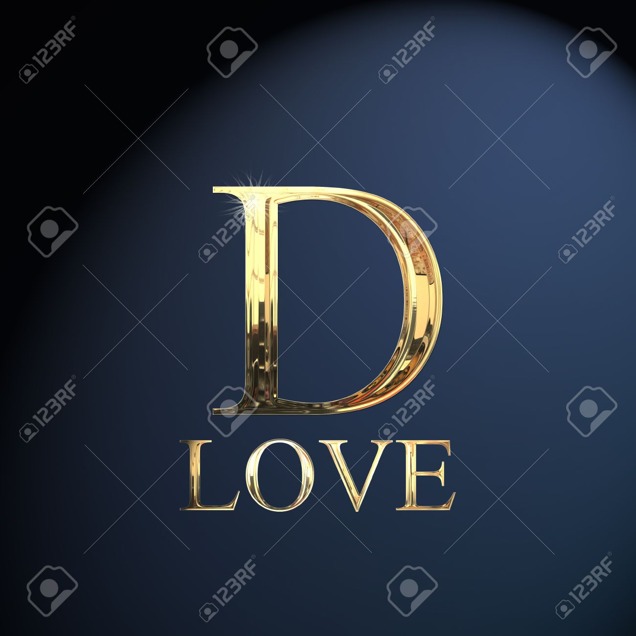 Superbe Gold Alphabet Letter D Word Love On A Blue Background Stock Photo   14052918