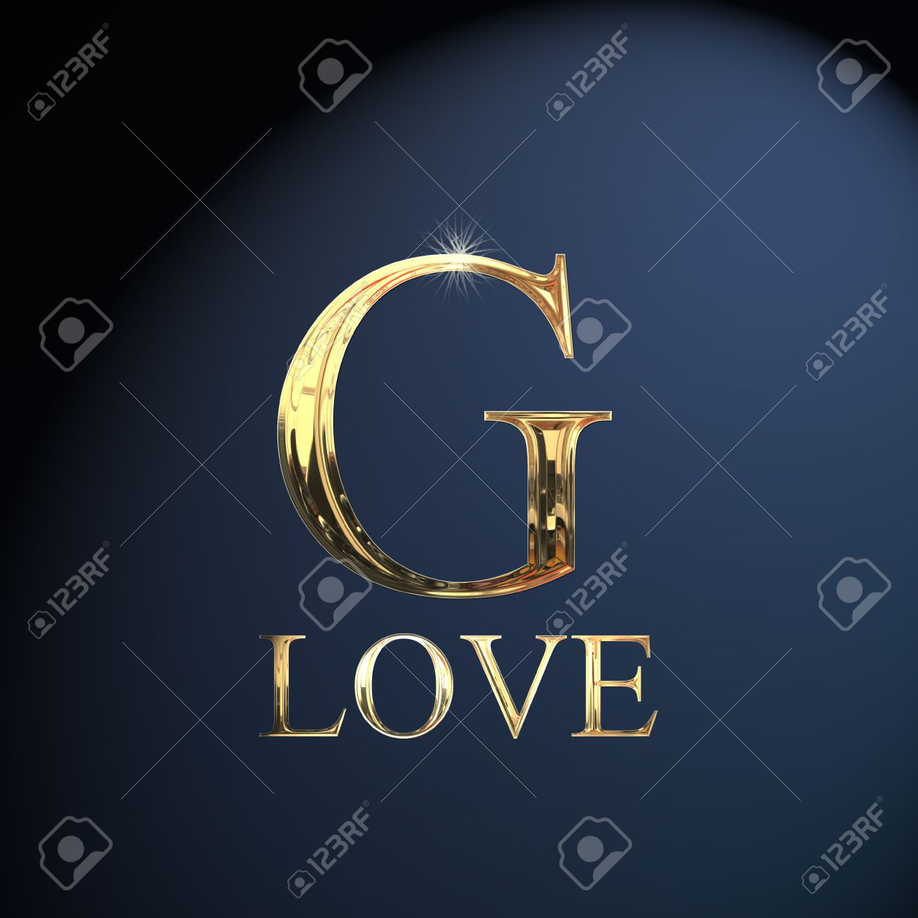 Gold Alphabet Letter G Word Love On A Blue Background