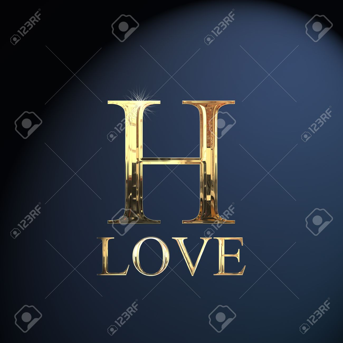 Gold Alphabet Letter H Word Love On A Blue Background Stock Photo