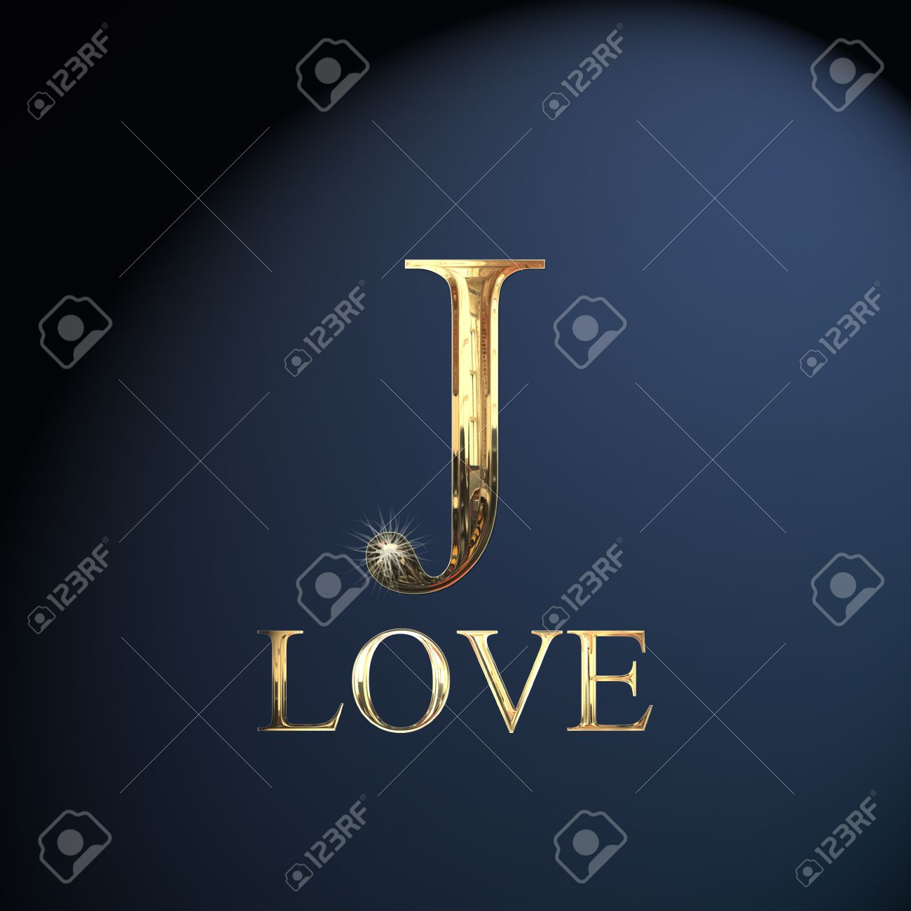 Gold Alphabet Letter J Word Love On A Blue Background Stock Photo
