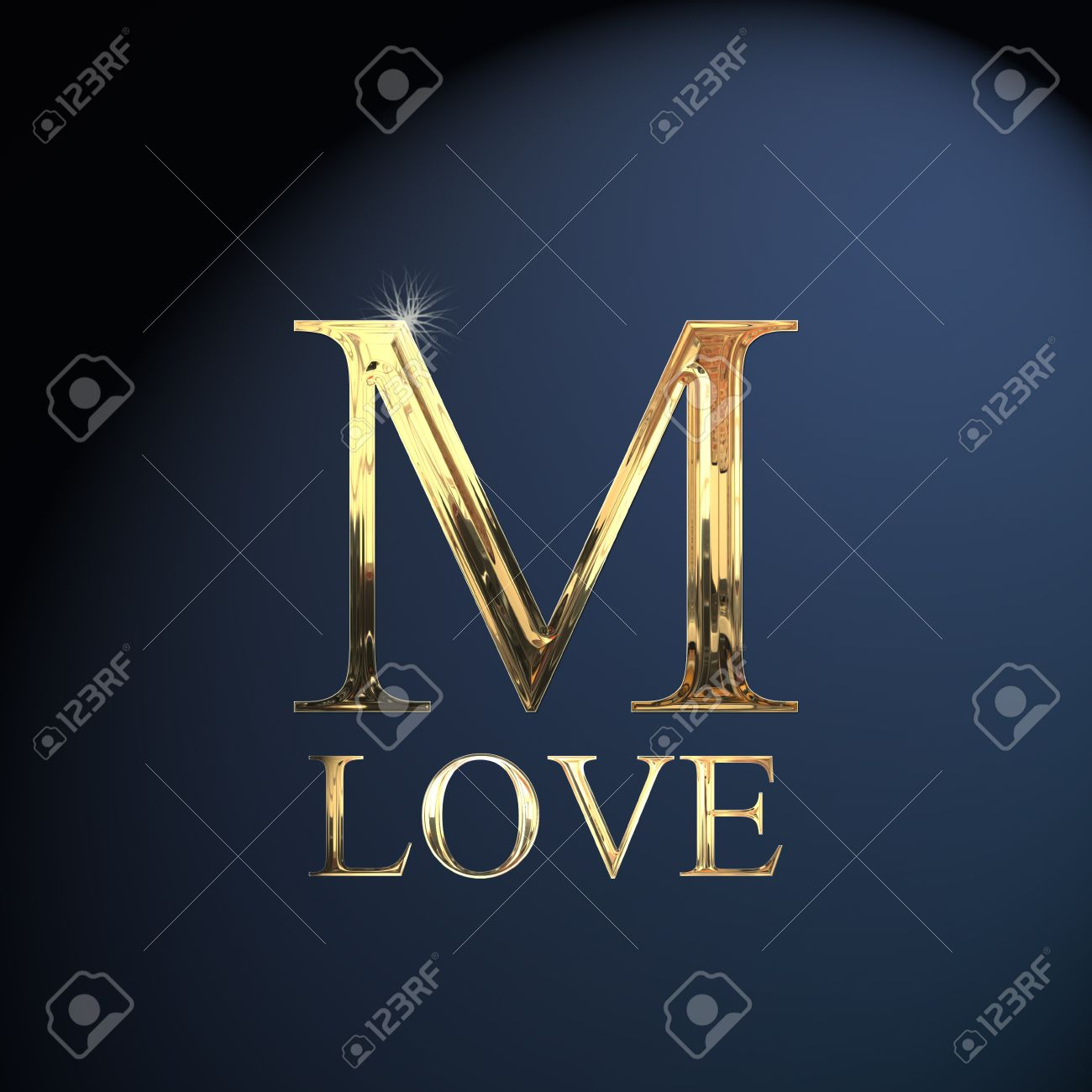 Gold Alphabet Letter M Word Love On A Blue Background Stock Photo