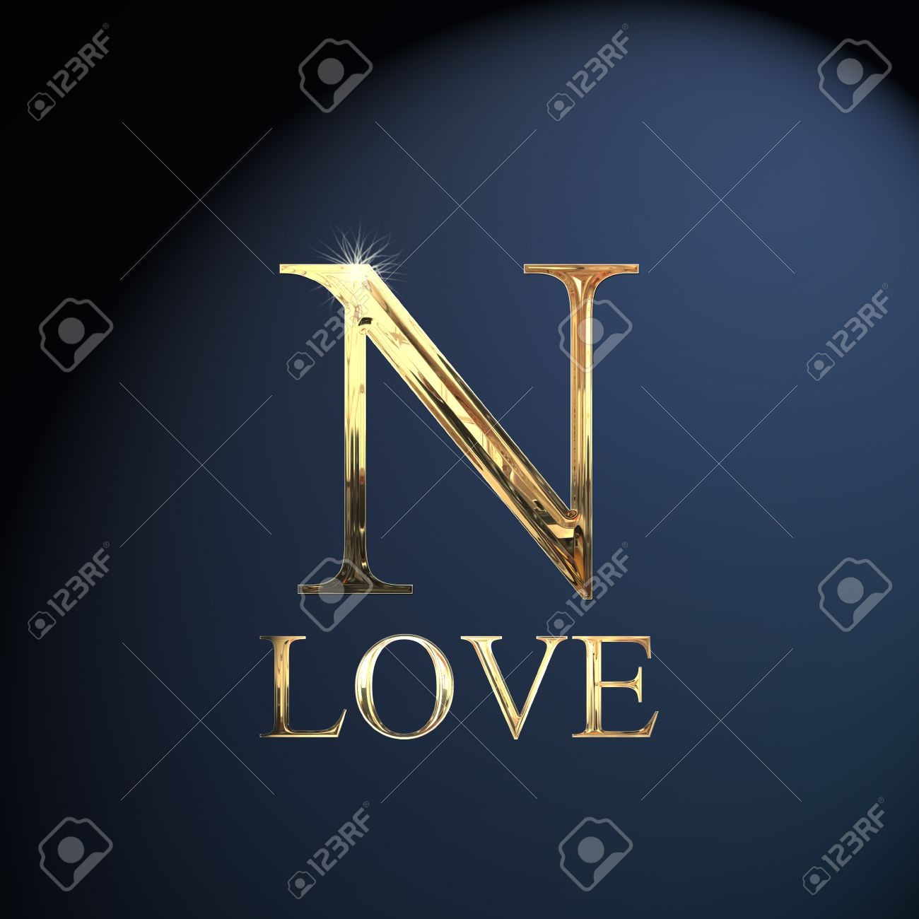 Gold Alphabet Letter N Word Love On A Blue Background Stock Photo