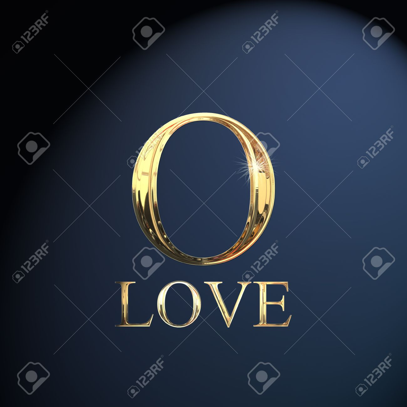 Gold Alphabet Letter O Word Love On A Blue Background Stock Photo
