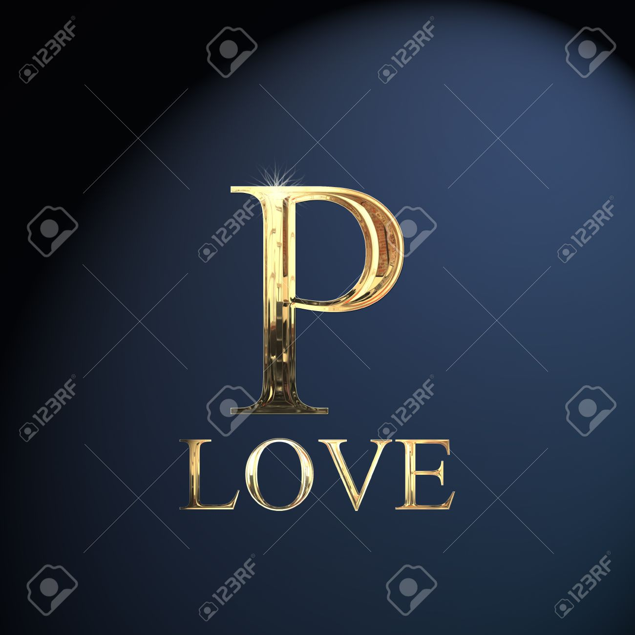 Gold Alphabet Letter P Word Love On A Blue Background