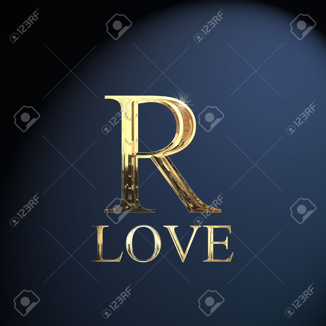 Gold Alphabet Letter R Word Love On A Blue Background Stock Photo