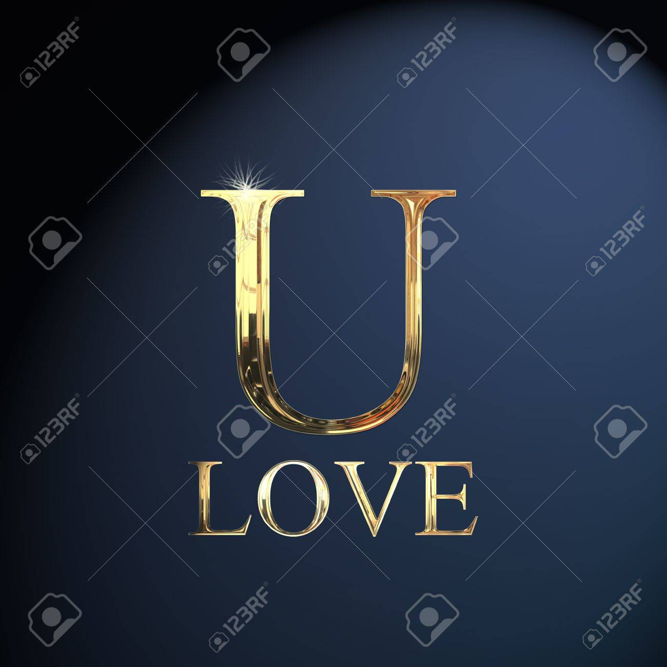 Gold Alphabet Letter U Word Love On A Blue Background Stock Photo