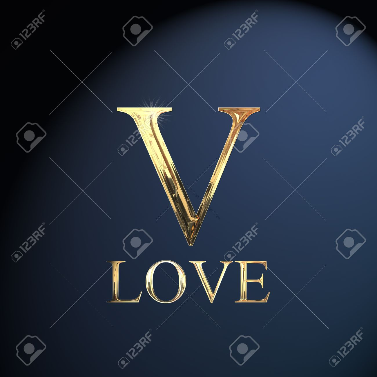 Gold Alphabet Letter V Word Love On A Blue Background Stock Photo