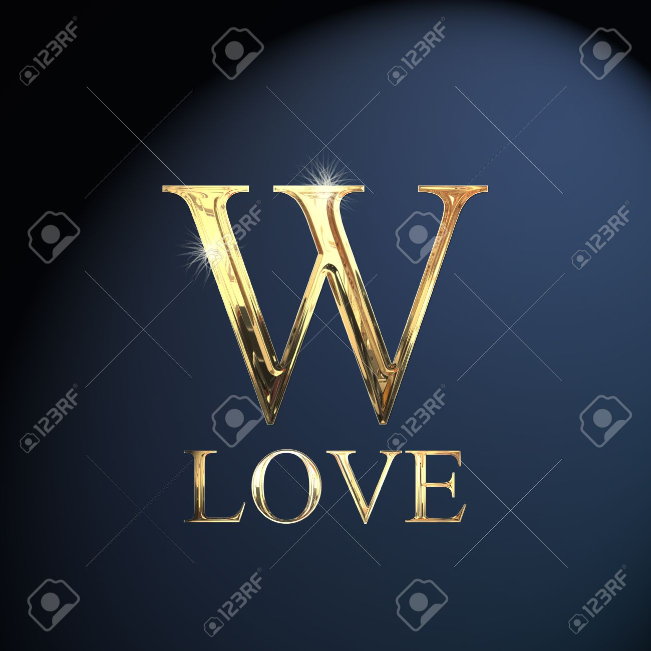 gold alphabet letter w word love on a blue background stock photo 14063048