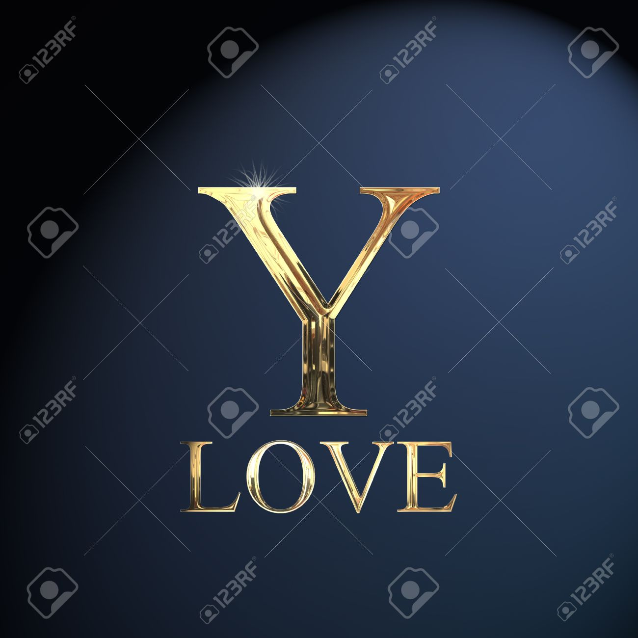 Gold Alphabet Letter Y Word Love On A Blue Background Stock Photo