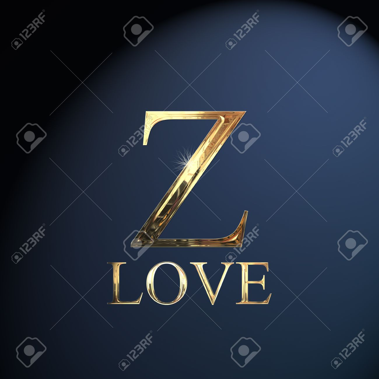 Gold Alphabet Letter Z Word Love On A Blue Background Stock Photo
