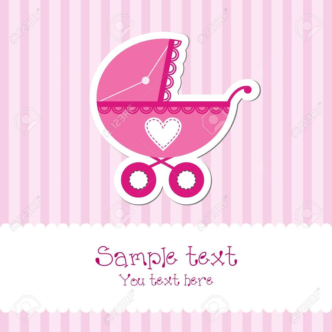 Bright baby girl card Stock Vector - 13404120