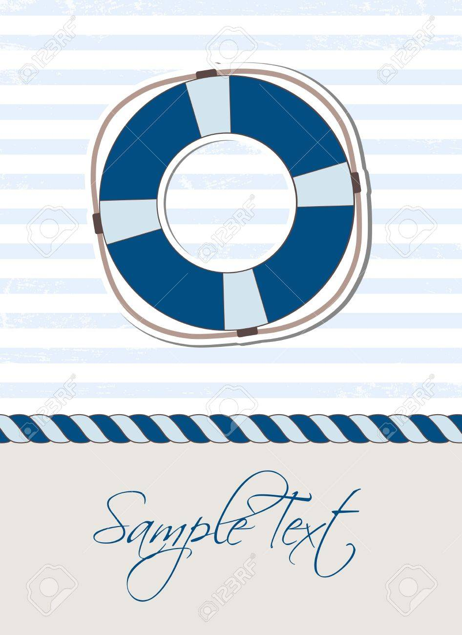 Sea background with lifebuoy Stock Vector - 14731901