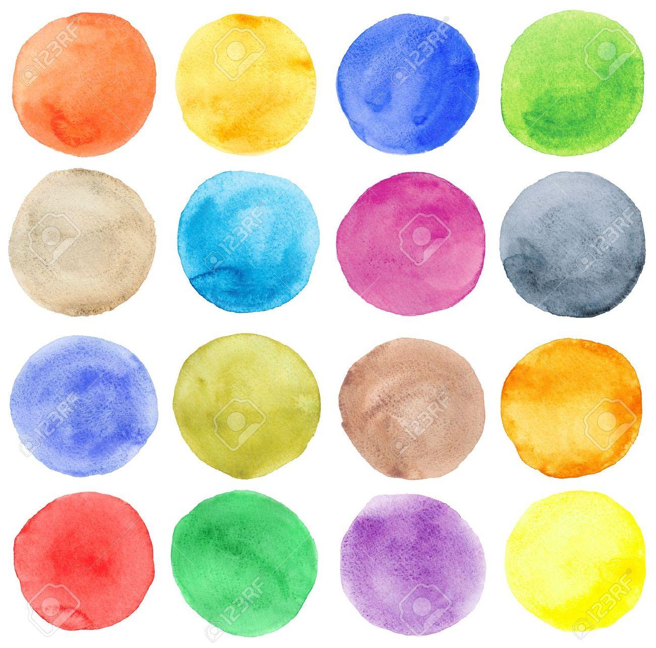 Watercolor hand painted circles set Stock Photo - 15196084