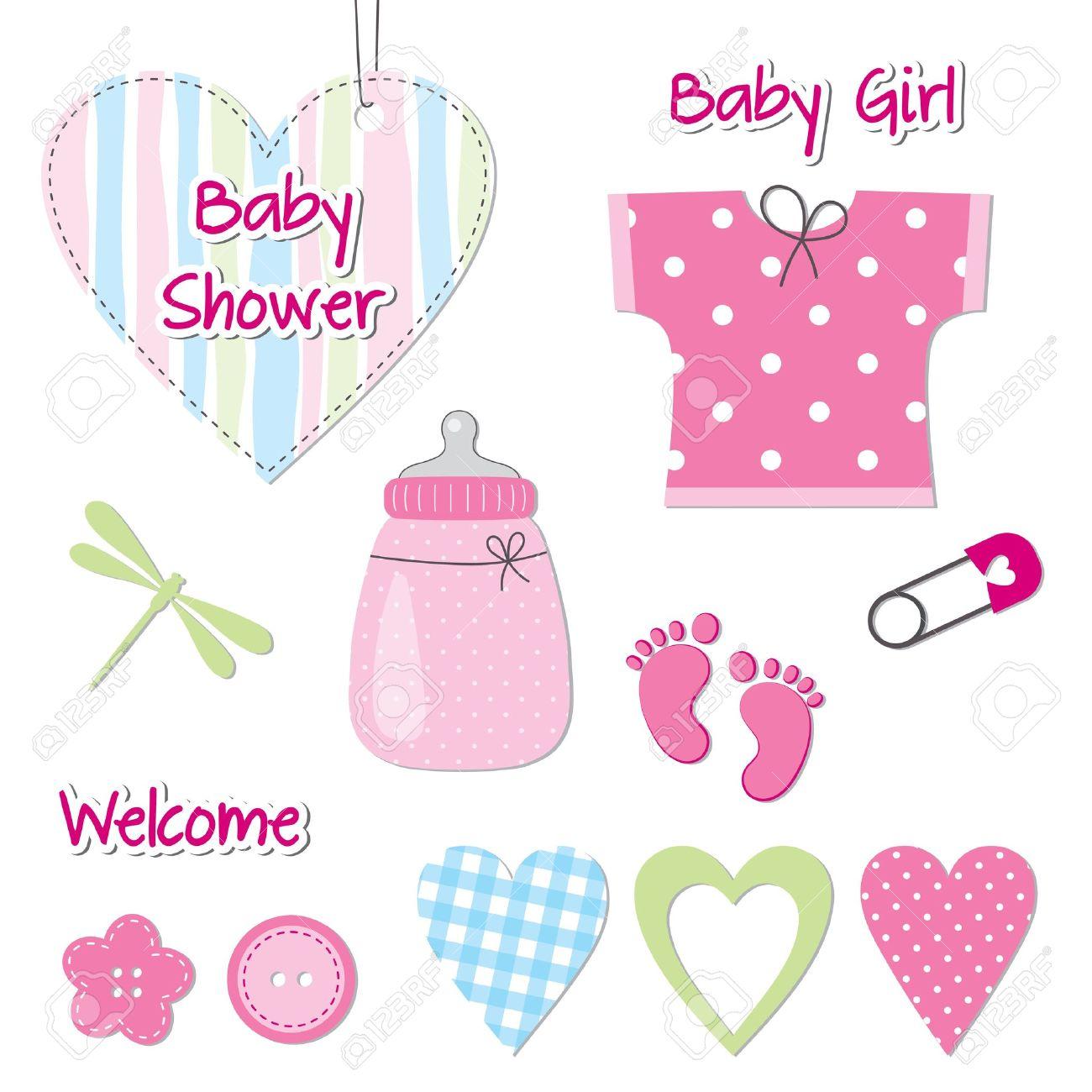 Baby girl shower card - scrapbook design elements - 21863592