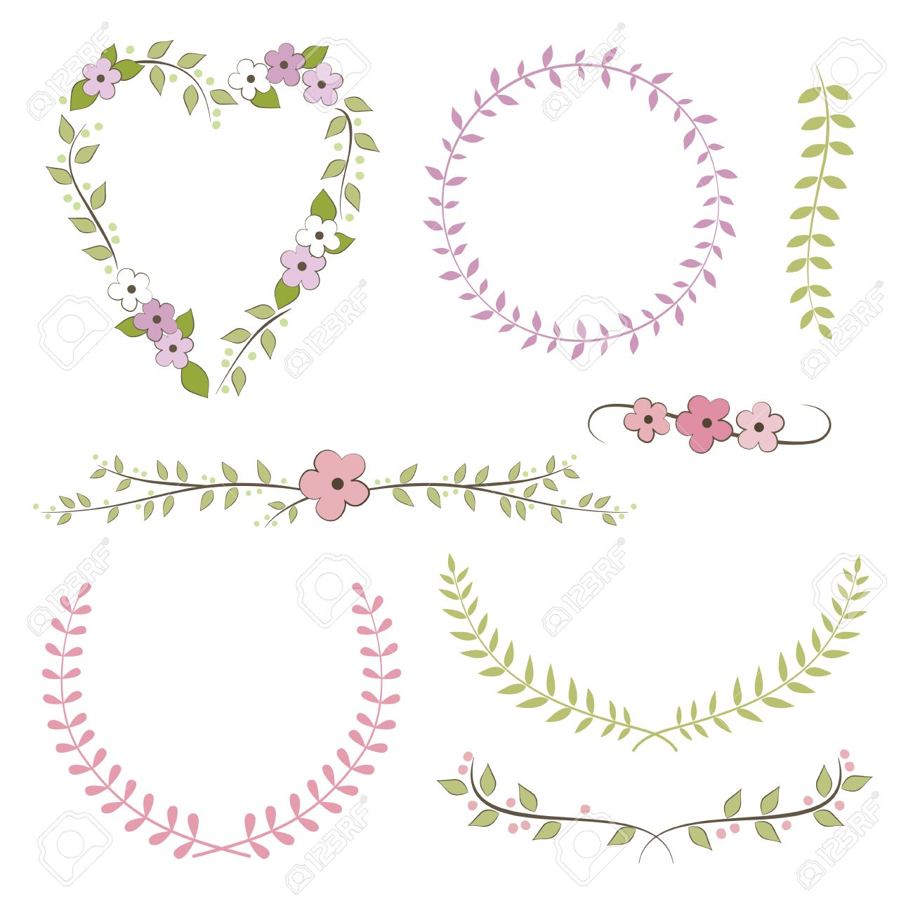 Wedding Set Wreath Laurel Flowers Royalty Free Cliparts Vectors