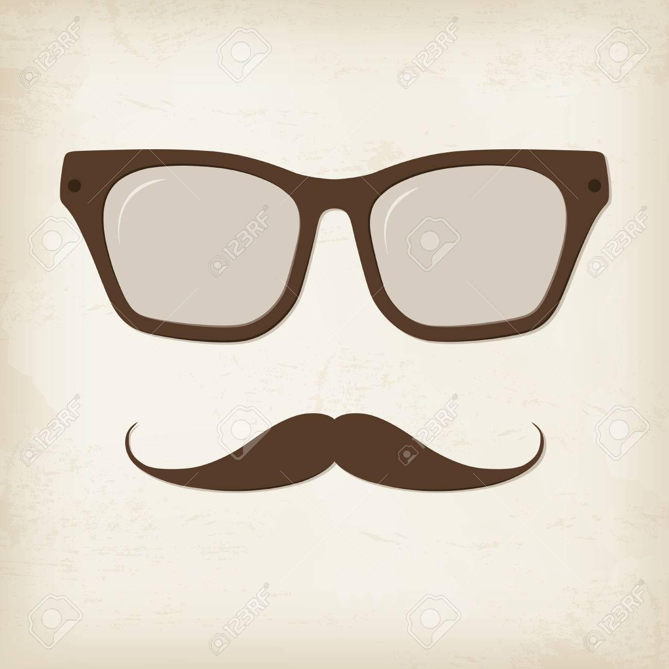 4fff16bfa Retro hipster mustache and glasses. Vector card. Stock Vector - 40603509