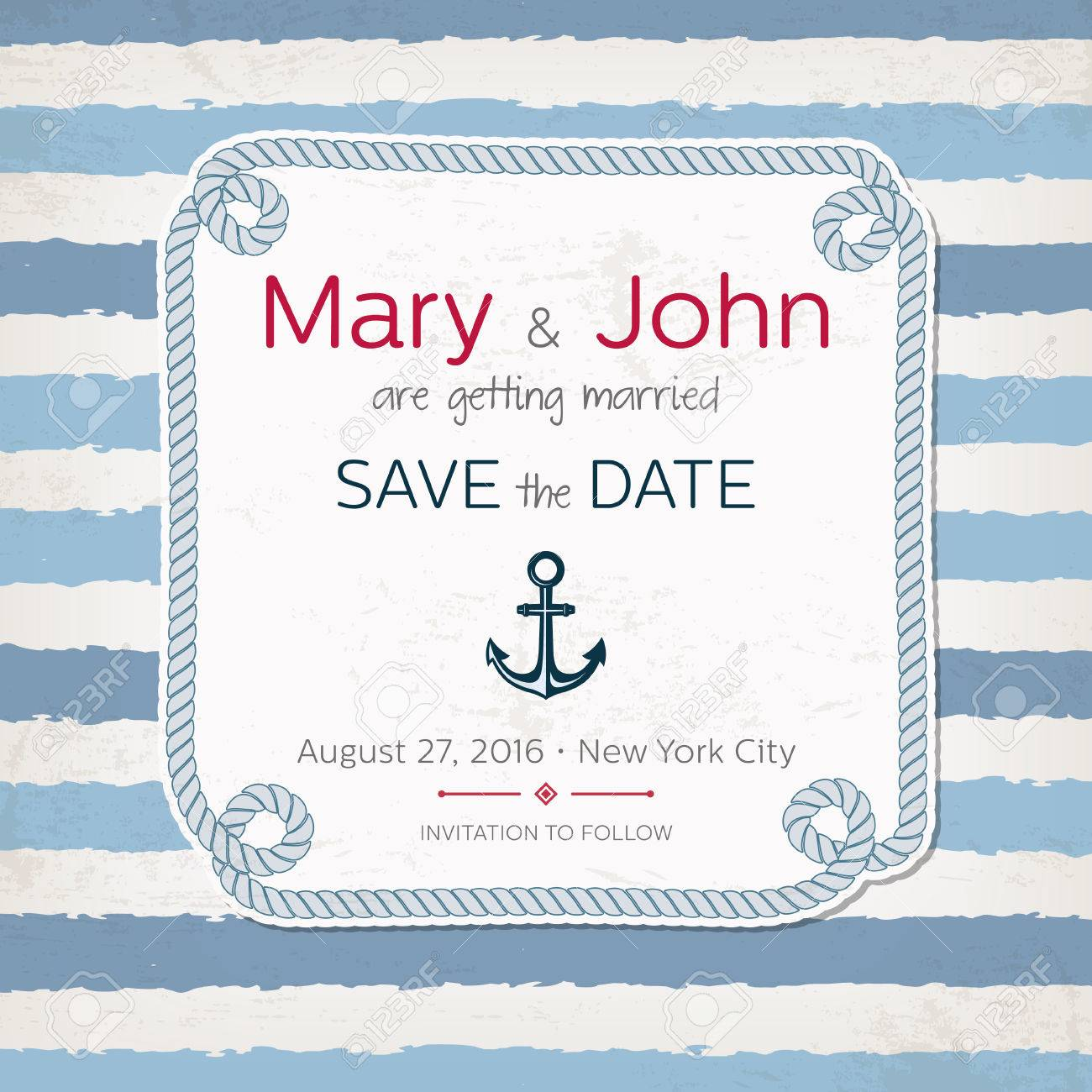 Vintage Marine Wedding Invitation. Nautical Design. Beach Party ...