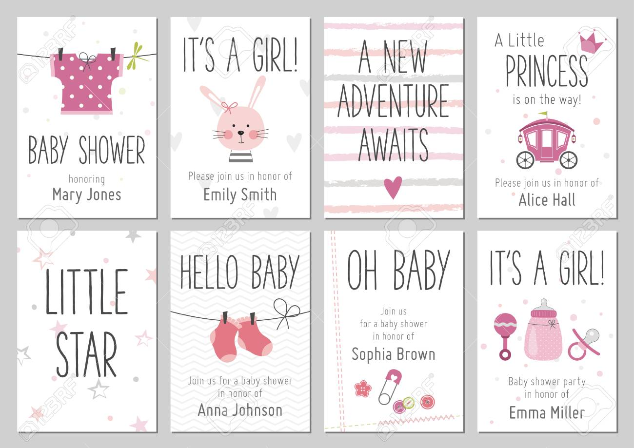 40d258632 Foto de archivo - Invitaciones de Baby Shower. Colección de tarjetas de  llegada y ducha de bebé niña. Vector las invitaciones con el vestido del  bebé