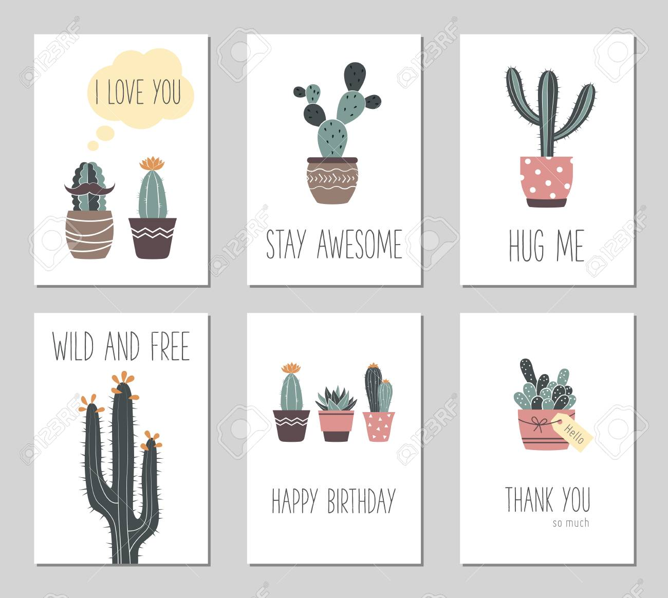 Vector hand drawn cactus and succulents cute cactus in flower vector vector hand drawn cactus and succulents cute cactus in flower pots vintage greeting cards gift cards m4hsunfo