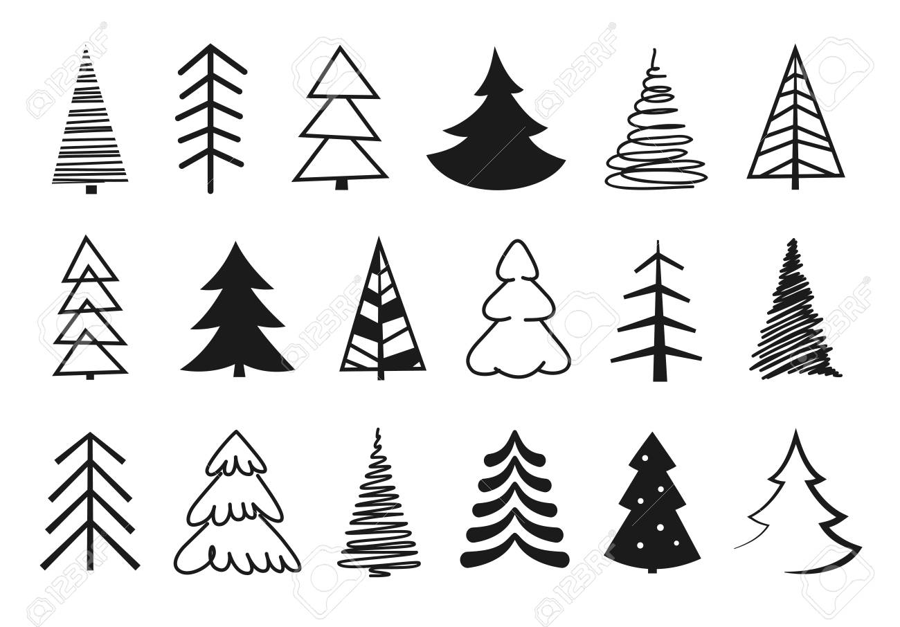 Christmas Trees Silhouette.Hand Drawn Christmas Tree Silhouettes Vector Illustration
