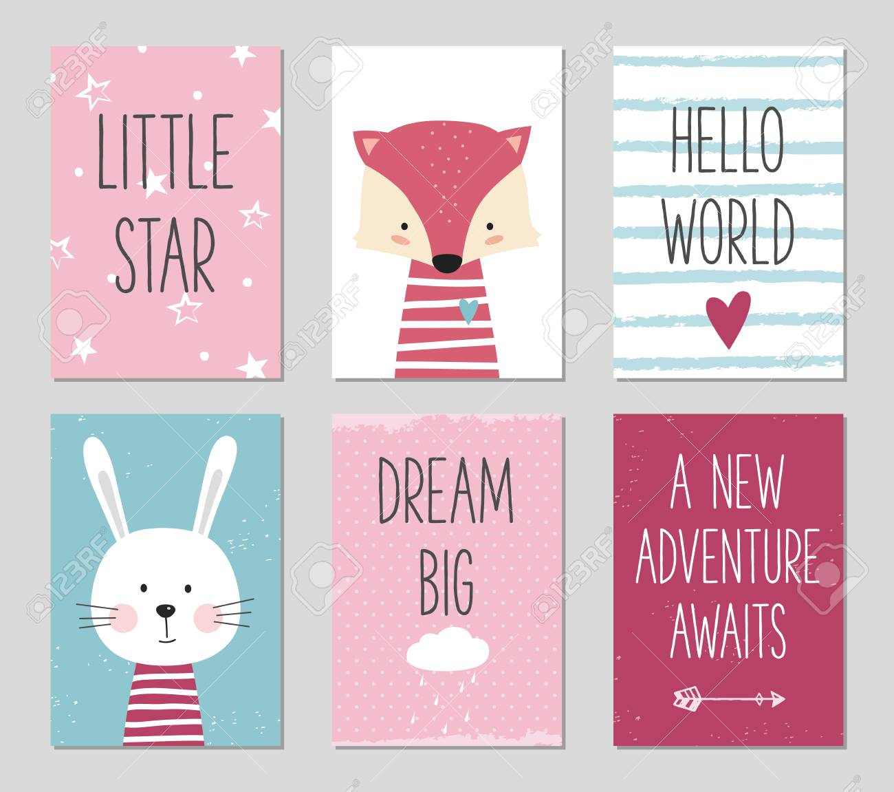 Birthday cards with quotes cartoon fox and bunny for baby girl..