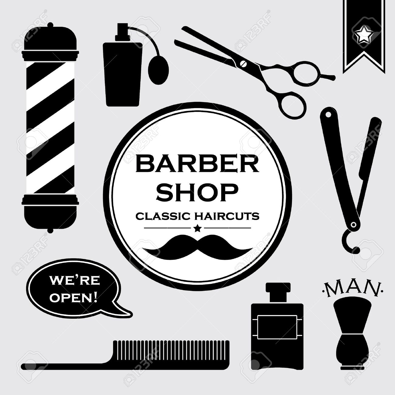 Antique barber shop sign - Barber Shop Barbershop Vintage Symbols Set