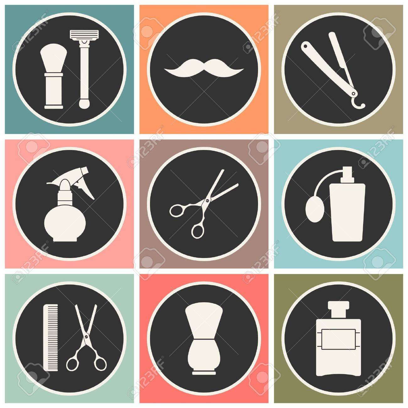 Clip art vector of vintage barber shop logo graphics and icon vector - Barber Shop Vintage Old Fashioned Icons Set Stock Vector 41056330