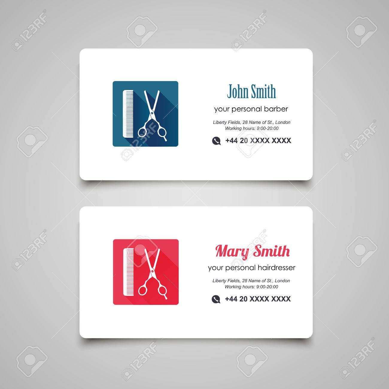 Hair Salon Barber Shop Business Card Design Template Royalty Free ...