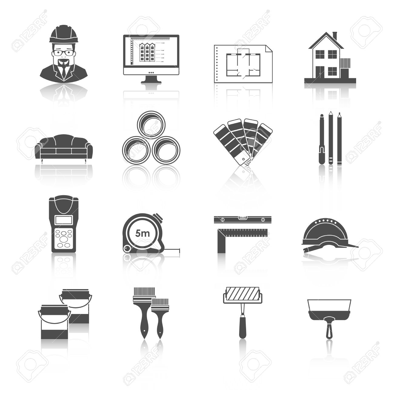 Architecture Interior Design And Repairs Vector Black Icons Set Stock