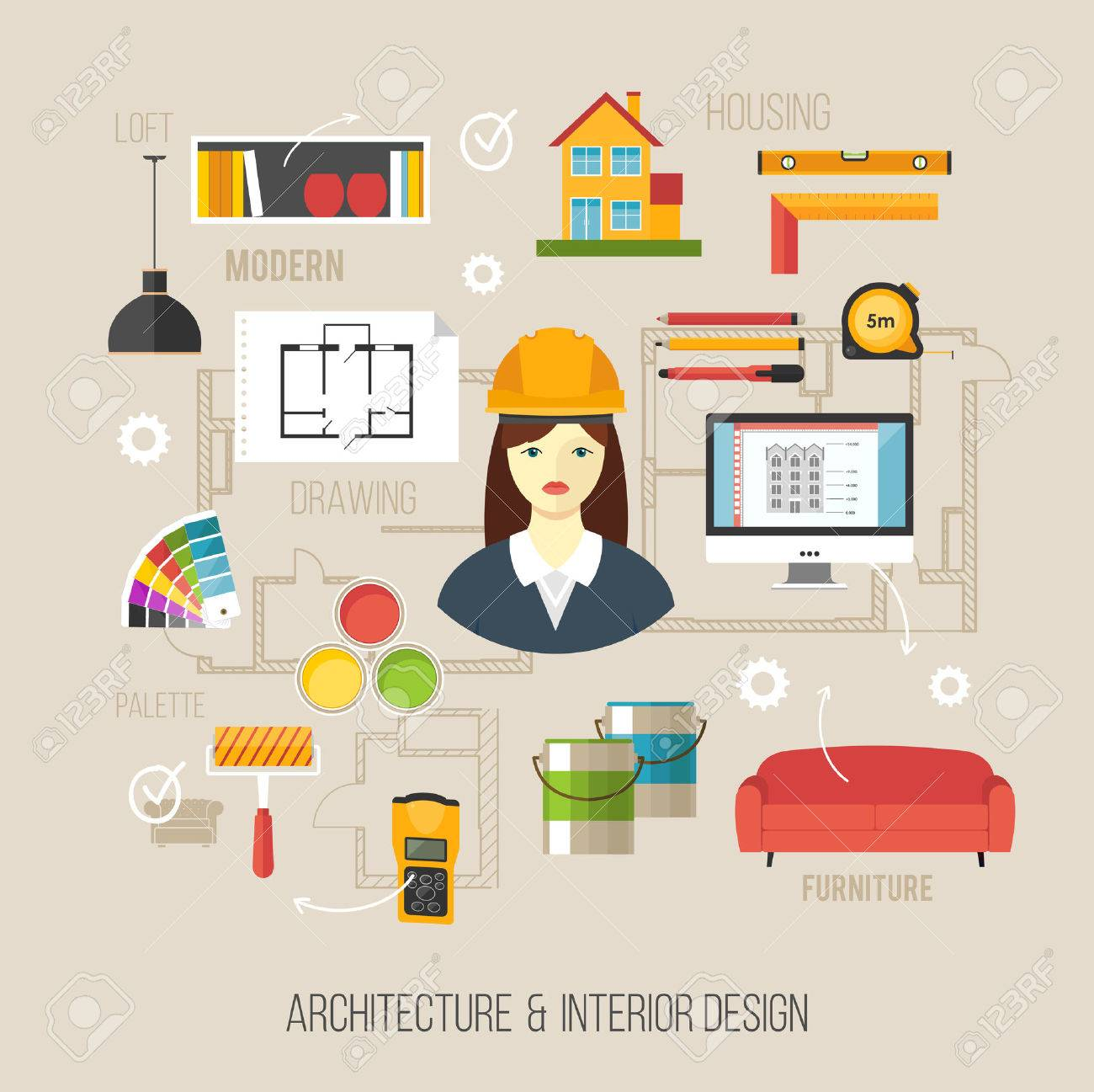 architecture and interior design concept with women architect and architecture icons stock vector 39316549