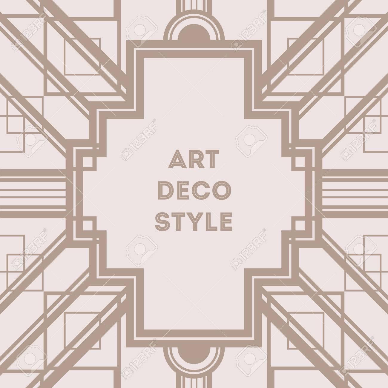 Art Deco Vintage Decorative Frame Retro Card Design Vector Template