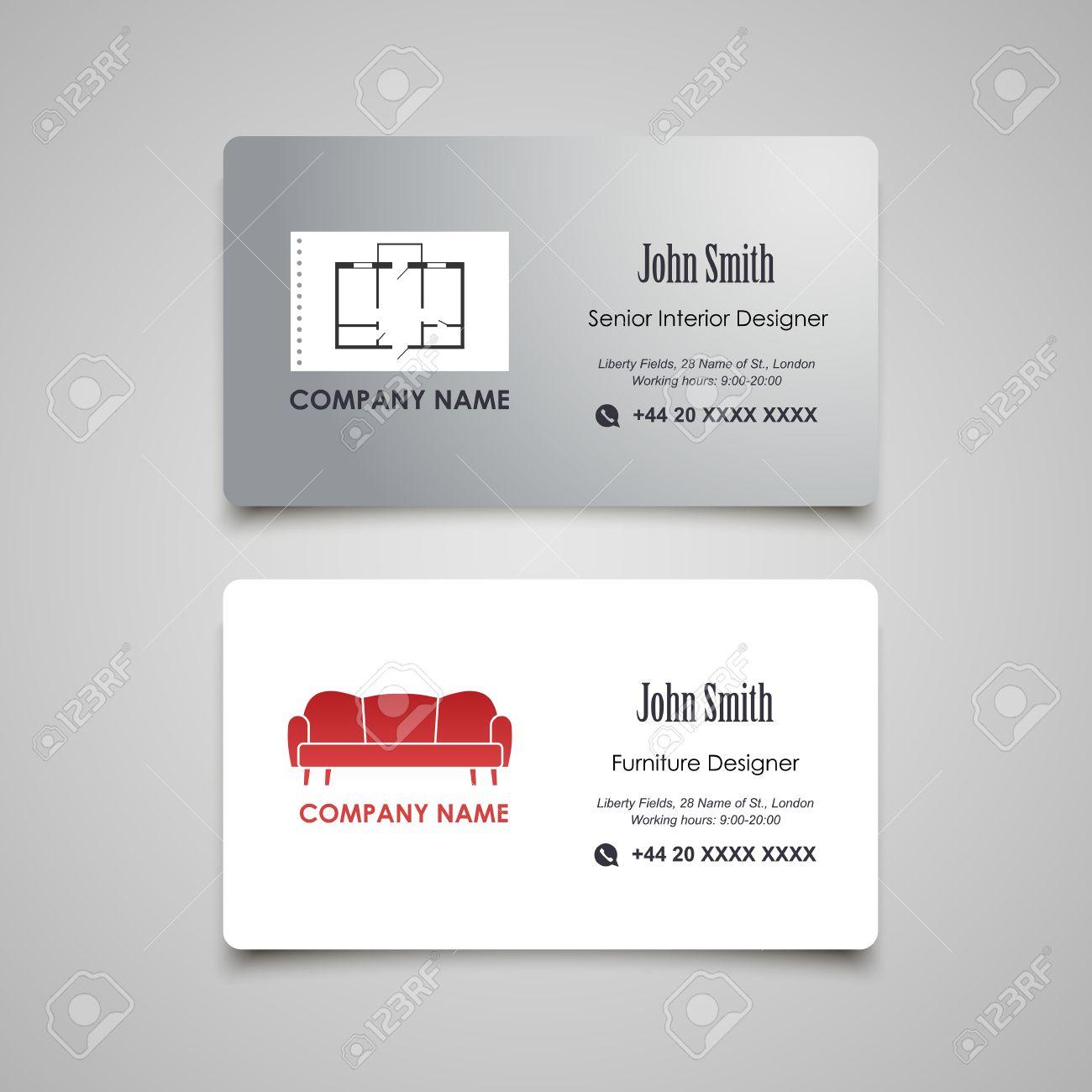 Interior And Furniture Designer Vector Business Card Template - Interior design business cards templates free