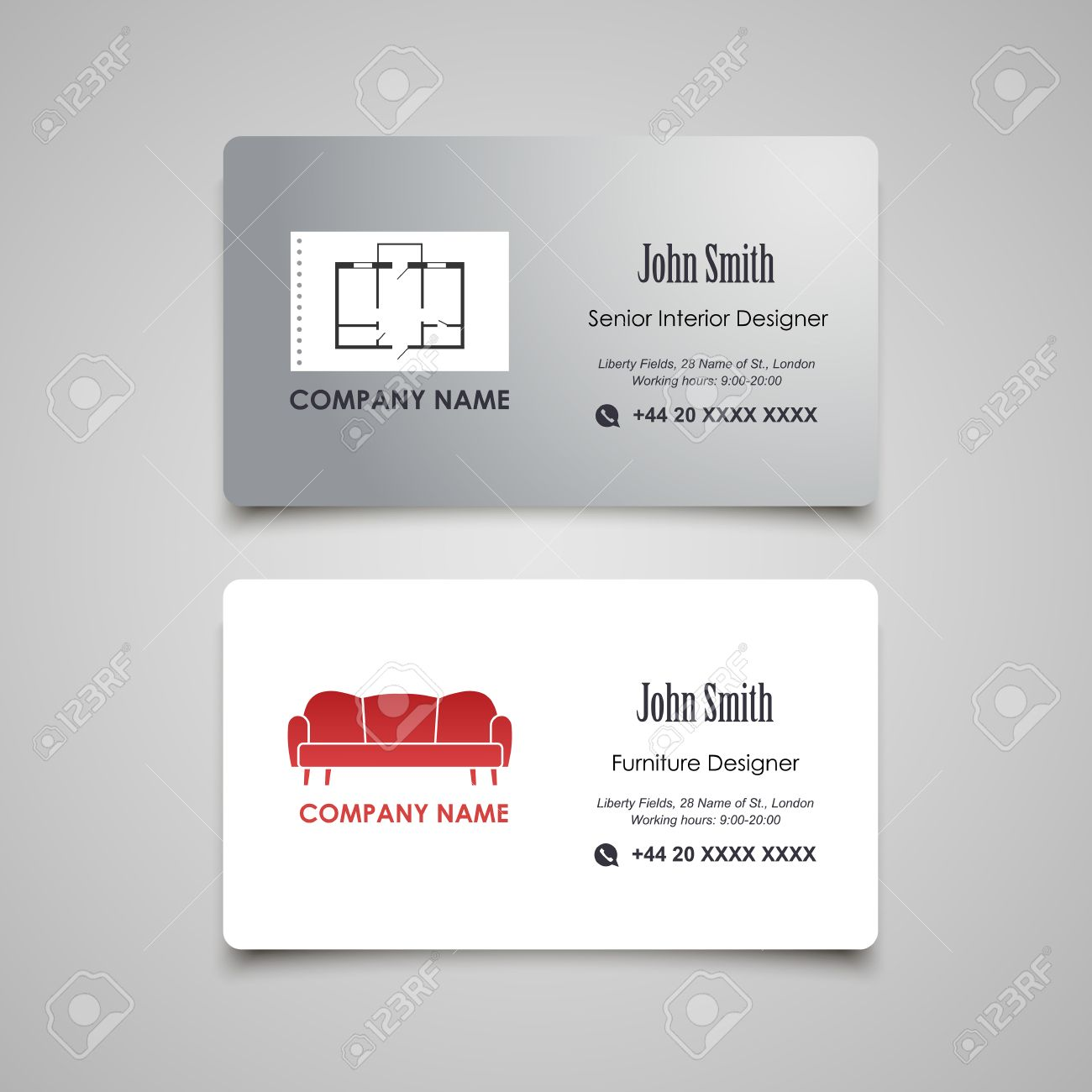 Interior And Furniture Designer Vector Business Card Template ...