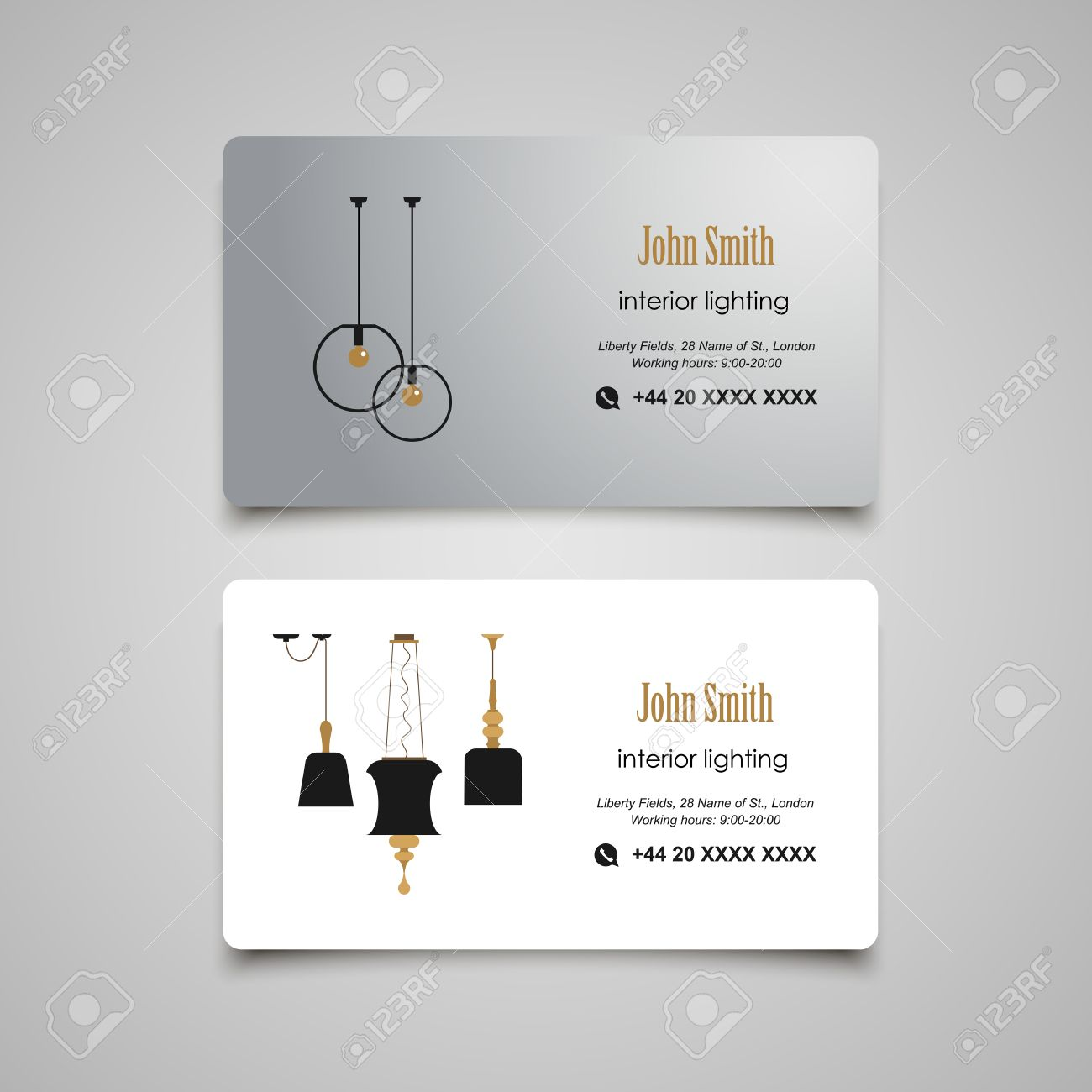 Interior And Furniture Designer Business Card Template Stock Vector