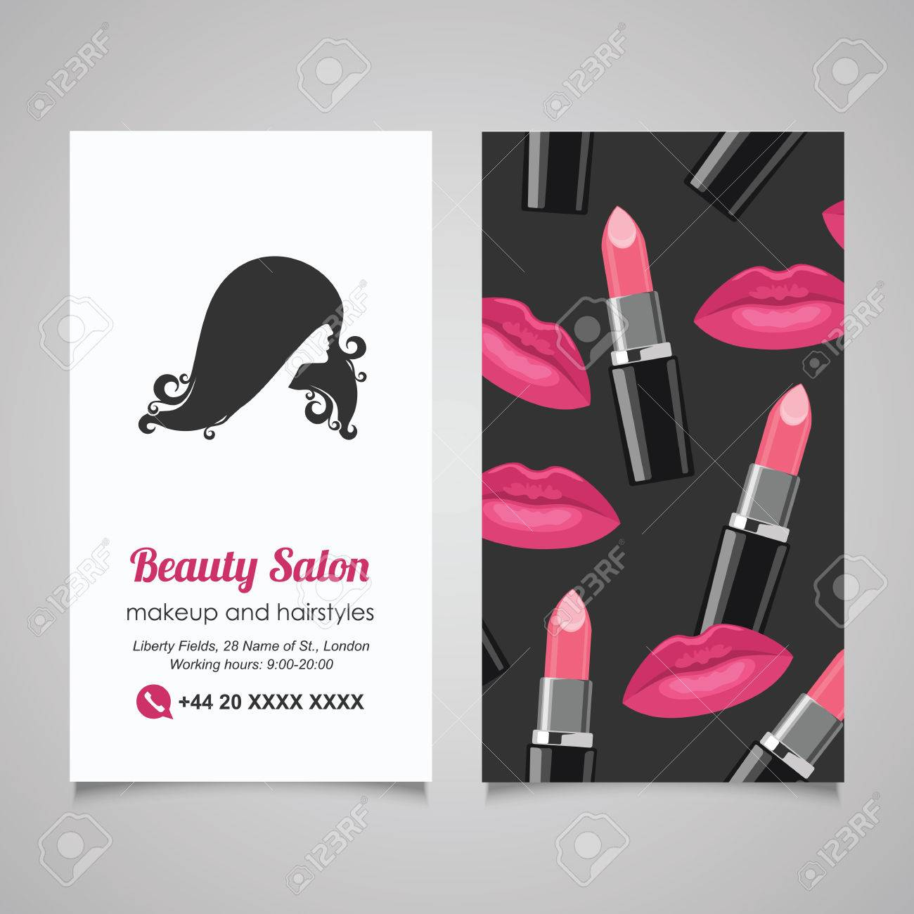 Beauty Salon Business Card Design Template With Beautiful Woman\'s ...