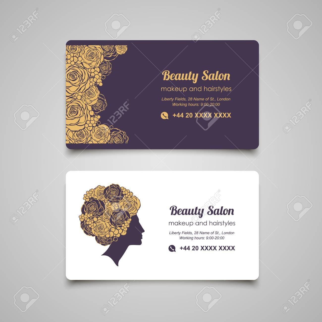 Beauty salon luxury business card design template with beautiful banco de imagens beauty salon luxury business card design template with beautiful womans profile reheart Gallery