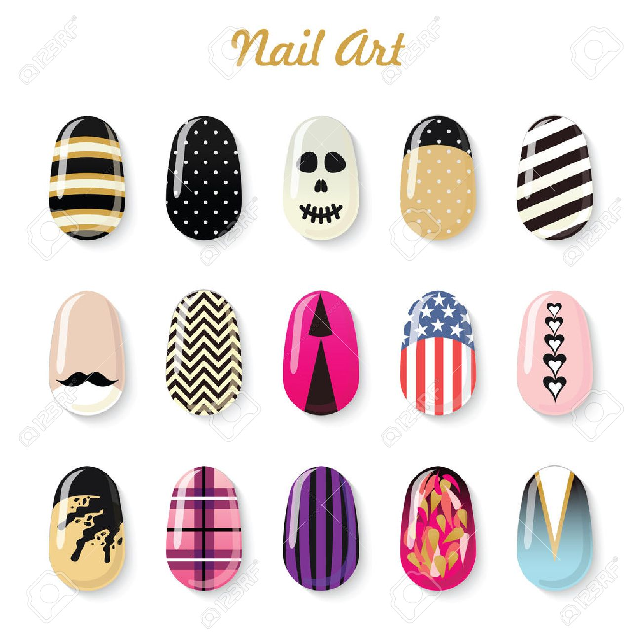 Nails Art Vector Templates And Polish Bottle For Manicure Salon