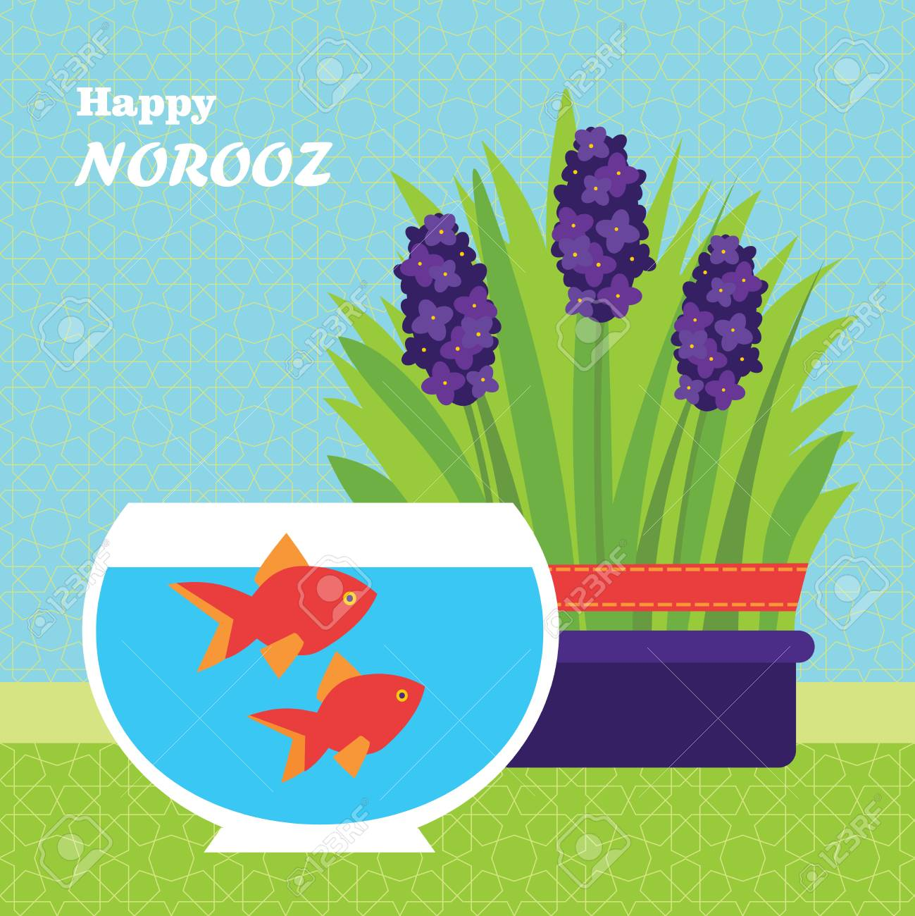 happy persian new year card template vector illustration with fish and grass stock vector