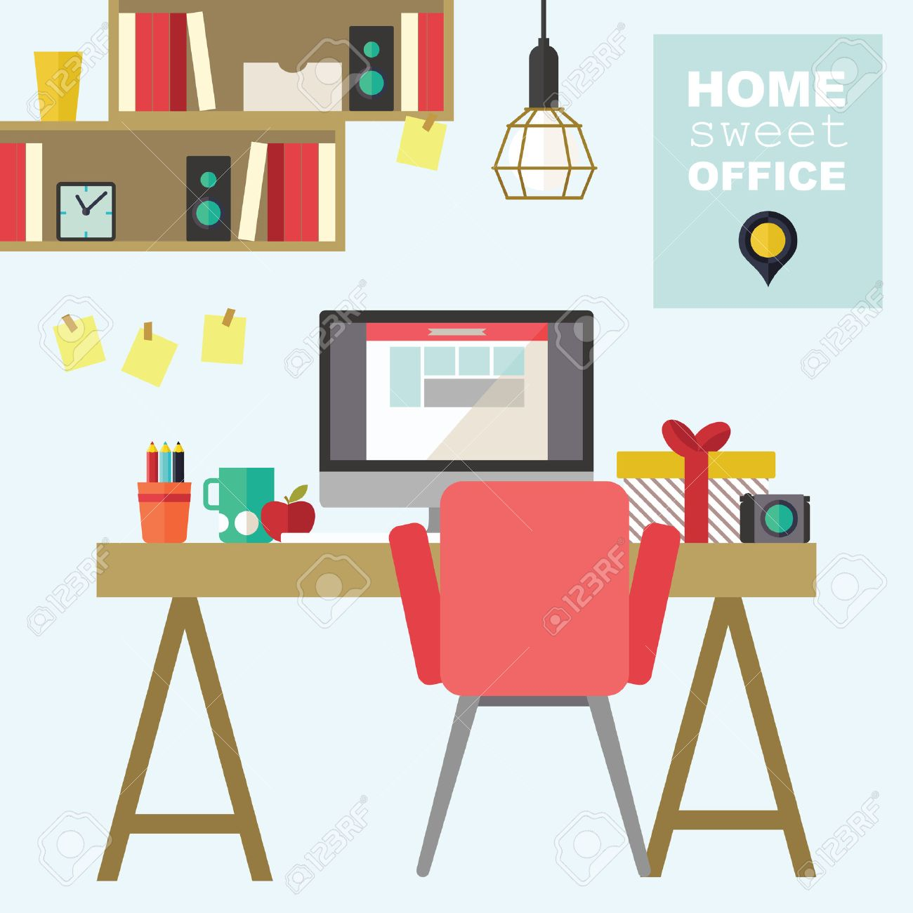Home Office Flat Interior Design Illustration Royalty Free Cliparts