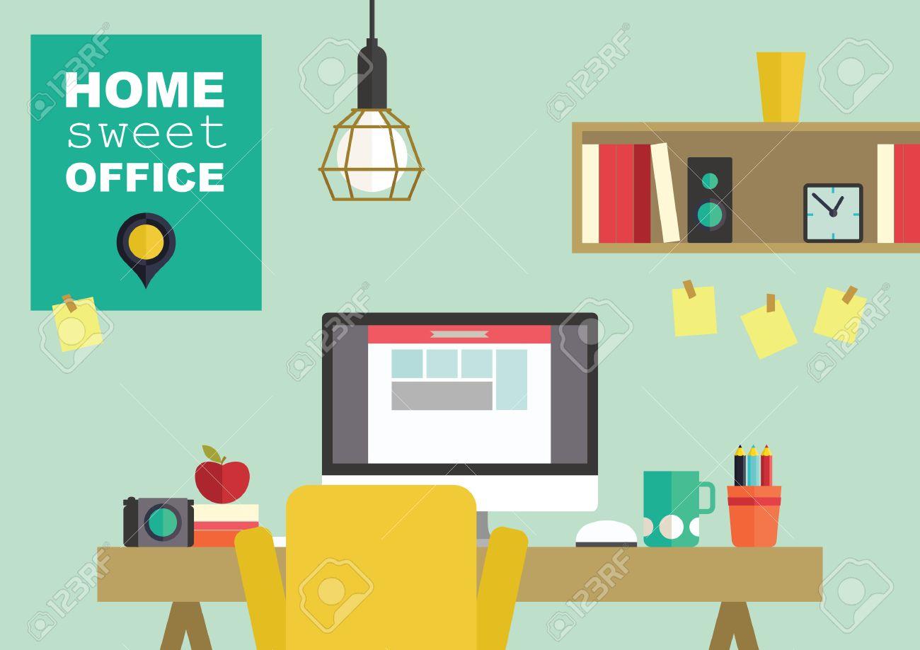 Home Office Flat Interior Design Vector Illustration Stock