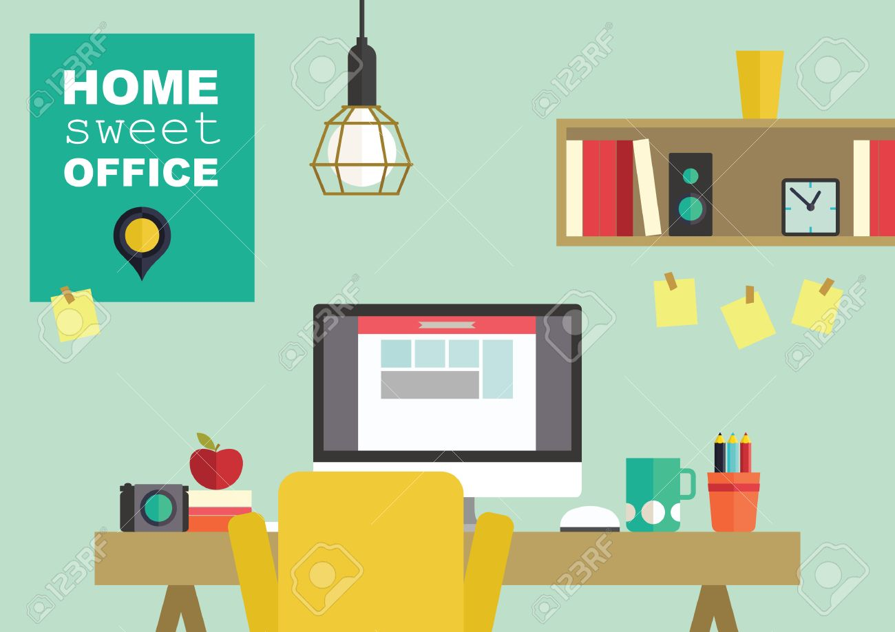 free home office. Home Office Flat Interior Design Vector Illustration Stock - 41649618 Free T